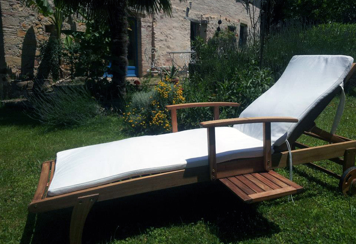 deckchair for relax during holidays in Puycelsi, Tarn, South of France